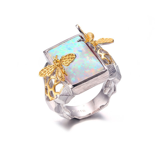 BEE ON HONEYCOMB RING IN STERLING SILVER WITH OPAL