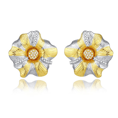 CAMELLIA EARRINGS WITH CUBIC ZIRCONIA IN STERLING SILVER
