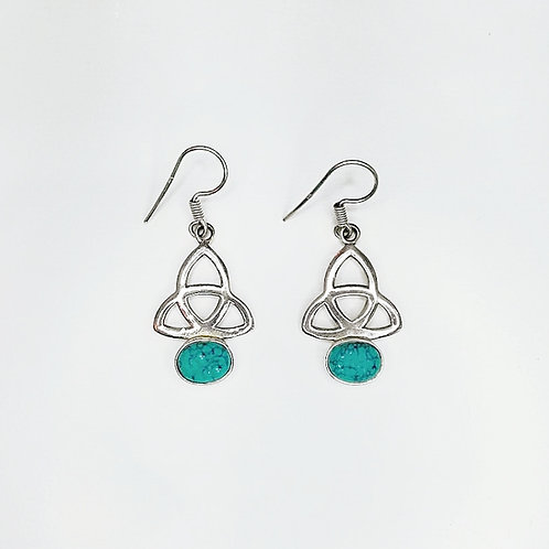 CELTIC TRINITY KNOT EARRINGS WITH GREEN TURQUOISE