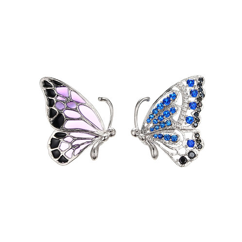 BEAUTIFUL BUTTERFLY EARRINGS WITH ENAMEL AND BLUE CRYSTAL WINGS IN STERLING SILV