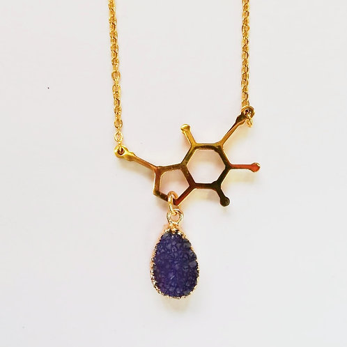 DOPAMINE GOLD-PLATED NECKLACE WITH PURPLE DRUZY