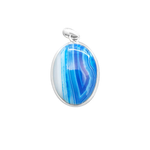 BLUE AGATE PENDANT IN STERLING SILVER