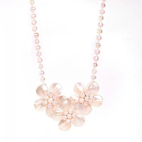WHITE SHELL FLOWER WITH PINK FRESHWATER PEARL NECKLACE
