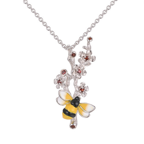 HAND ENAMELLED BEE STERLING SILVER NECKLACE WITH GARNET BLOSSOM