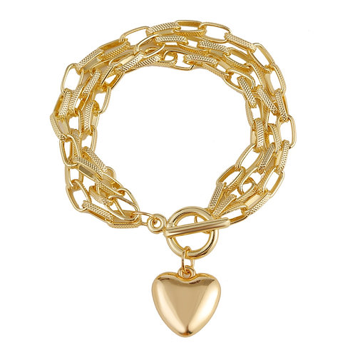 CHUNKY GOLD-PLATED CHAIN BRACELET WITH HEART
