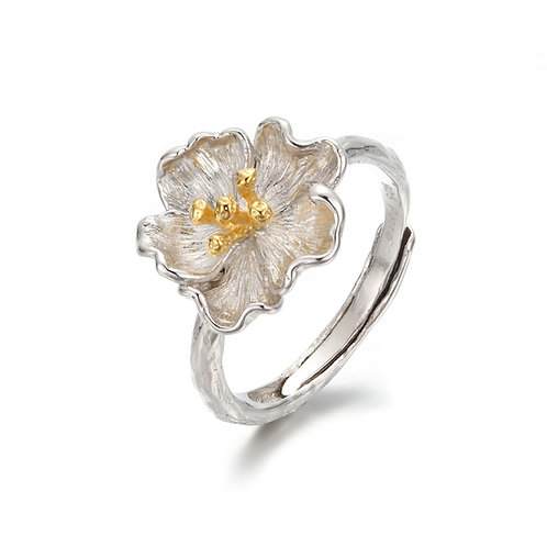 SILVER POPPY ADJUSTABLE RING