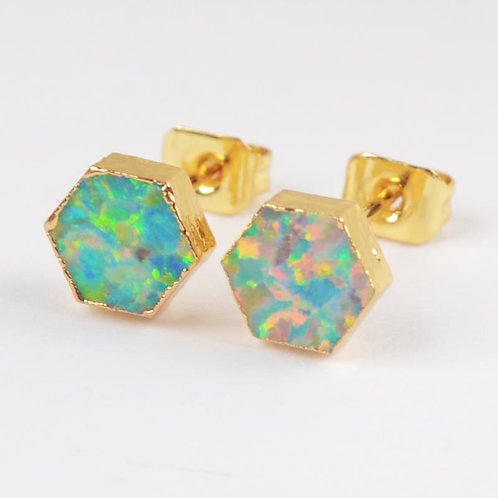 GOLD-PLATED SYNTHETIC WHITE OPAL HEXAGON STUDS