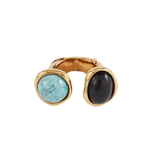 HEAVY DOUBLE STONE OPEN GOLD PLATED FASHION RING
