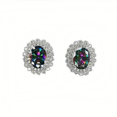 MYSTIC TOPAZ WITH CZ STERLING SILVER STUD EARRINGS