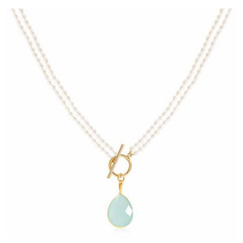 FRESHWATER PEARL DOUBLE STAND NECKLACE WITH AQUA CHALCEDONY DROP PENDANT