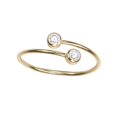 TWO STONE TWIST GOLD VERMEIL RING