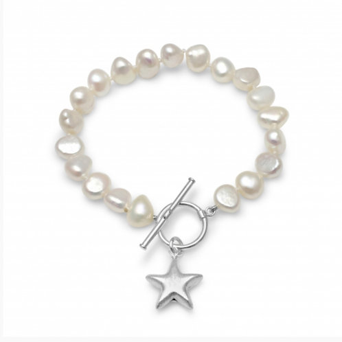 FRESHWATER POTATO PEARL BRACELET WITH STERLING SILVER STAR CHARM
