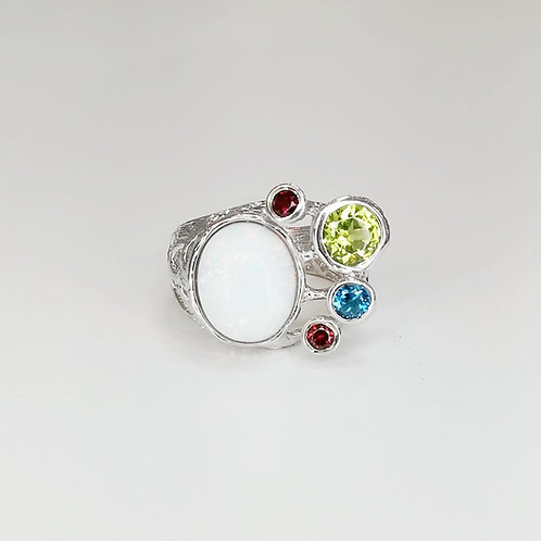 OPAL RING WITH PERIDOT IN STERLING SILVER