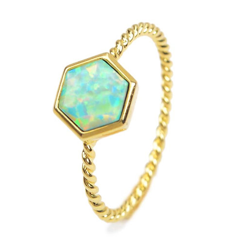GOLD-PLATED SYNTHETIC WHITE OPAL RING