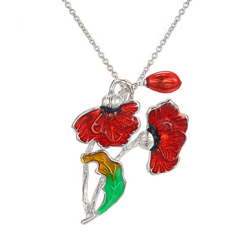 ENAMEL POPPY NECKLACE IN STERLING SILVER