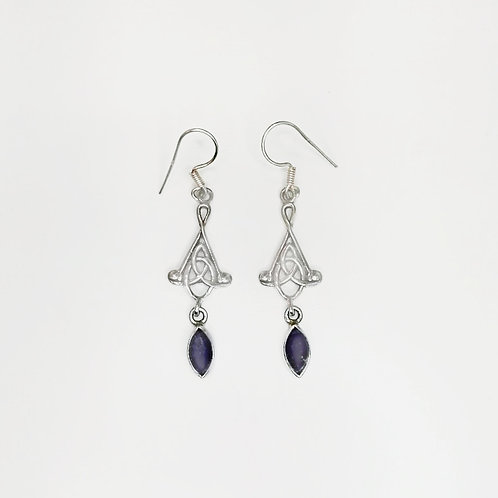 CELTIC KNOT HANGING EARRING WITH AMETHYST