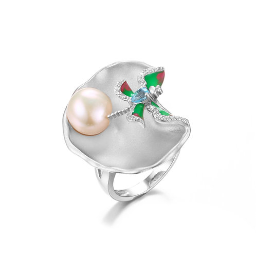 DRAGONFLY LILY PAD RING