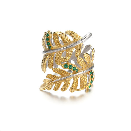 GOLD VERMEIL FERN LEAF RING WITH GREEN NANO SPINEL