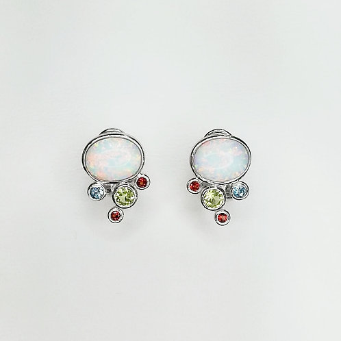 OPAL STERLING SILVER EARRINGS WITH MULTICOLOUR GEMSTONES