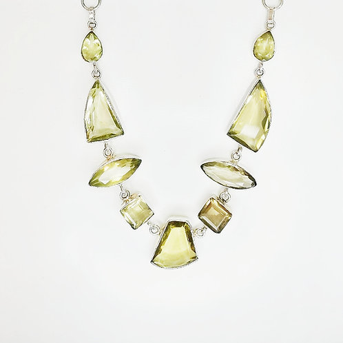 CHUNKY AND FUNKY CITRINE STERLING SILVER NECKLACE