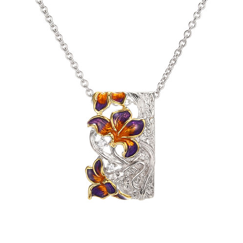 AUBURN AND VIOLET IRIS IN ENAMEL AND SILVER NECKLACE