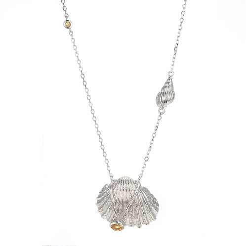 SILVER SHELL NECKLACE WITH CITRINE