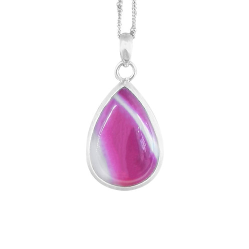 STERLING SILVER PINK LARGE AGATE PENDANT