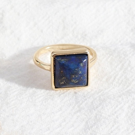 SQUARE LAPIS LAZULI GOLD PLATED RING