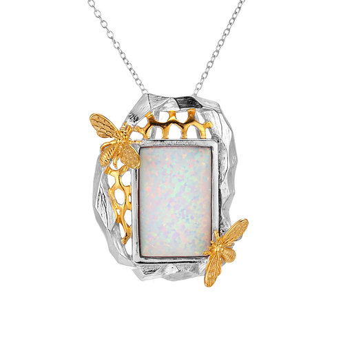 BEE ON HONEYCOMB NECKLACE IN STERLING SILVER WITH OPAL