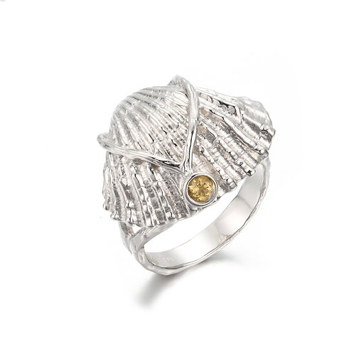 SILVER SHELL RING WITH CITRINE