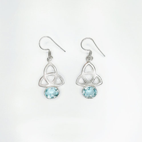CELTIC TRINITY KNOT EARRINGS WITH BLUE TOPAZ