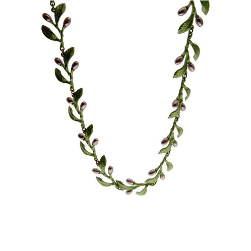 GREEN GARLAND NECKLACE WITH BLACK PEARLS