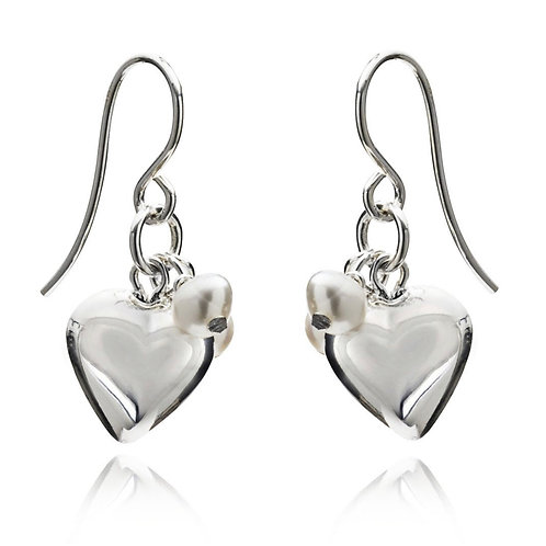 STERLING SILVER EARRINGS WITH FRESH WATER PUFFED PEARL