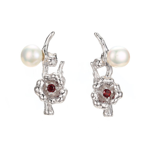 CHERRY BLOSSOM SILVER EARRINGS W. FRESHWATER PEARL
