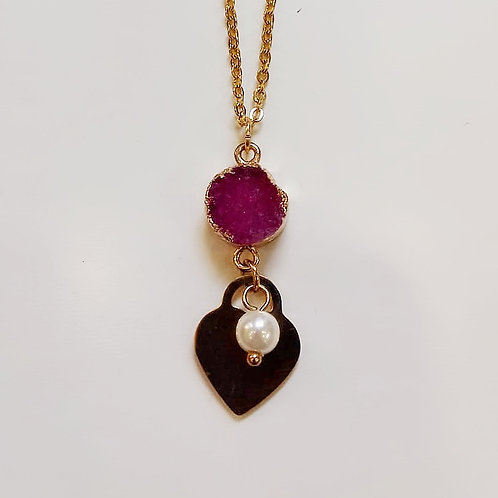 DRUZY NECKLACE WITH HEART AND PEARL