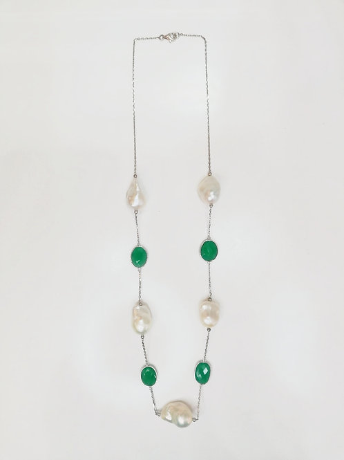 GREEN AGATE AND LARGE BAROQUE PEARL STERLING SILVER NECKLACE