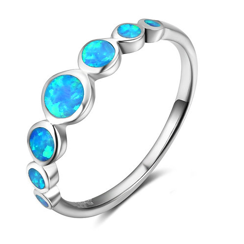 CREATED BLUE OPAL RING IN STERLING SILVER
