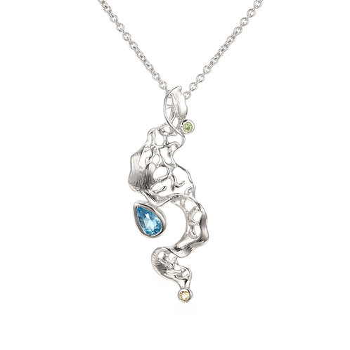 FOAMY WAVES STERLING SILVER NECKLACE WITH BLUE TOPAZ