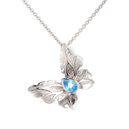 DETAILED SILVER BUTTERFLY NECKLACE WITH LONDON BLUE TOPAZ