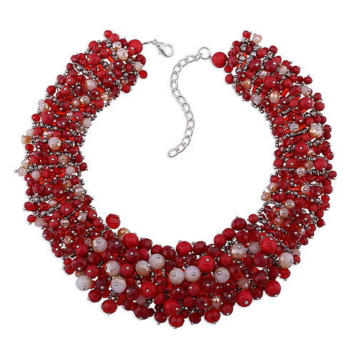 RED TURQUOISE BEAD PARTY NECKLACE