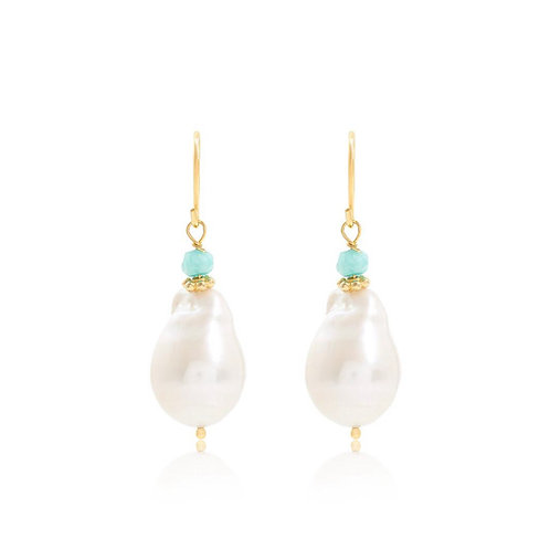 LARGE DROP PEARL EARRINGS WITH AMAZONITE