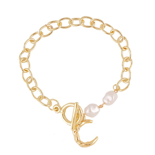 CHUNKY GOLD-PLATED MOON AND PEARL BRACELET