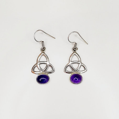 CELTIC TRINITY KNOT EARRINGS WITH AMETHYST