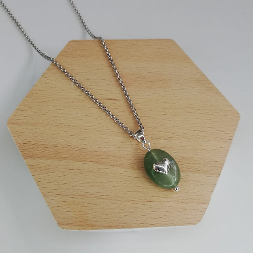 JADE WITH HEART NECKLACE IN STERLING SILVER