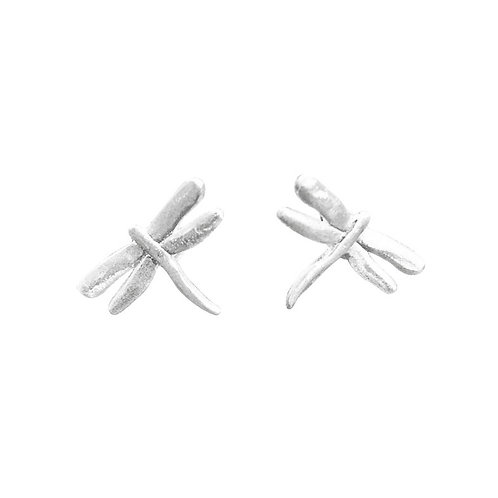 HAMMERED DRAGONFLY STUDS IN STERLING SILVER
