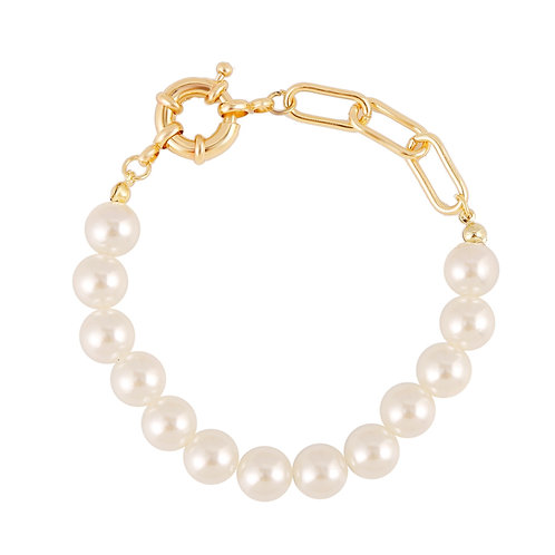GOLD-PLATED CHAIN AND PEARL BRACELET