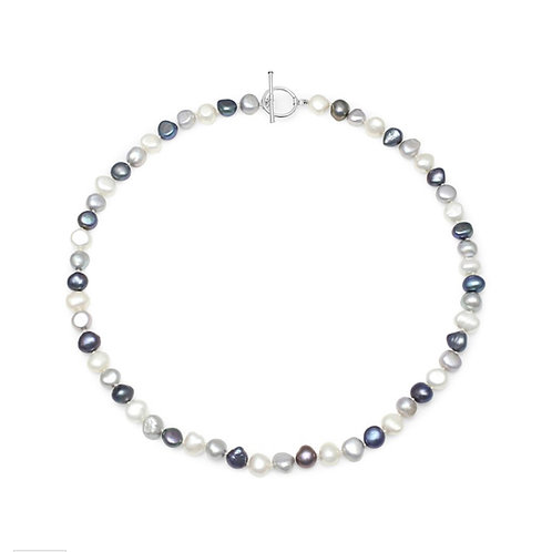 FRESHWATER BLACK, GREY & WHITE PEARL NECKLACE