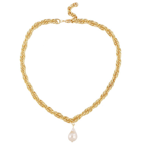 CHUNKY CHAIN GOLD-PLATED NECKLACE WITH PEARL PENDANT