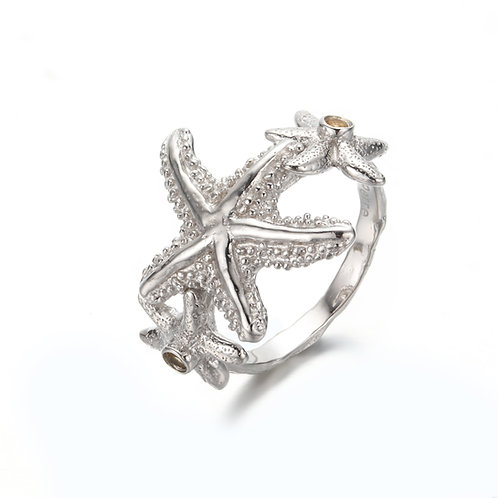SILVER STARFISH RING WITH AAA CITRINE
