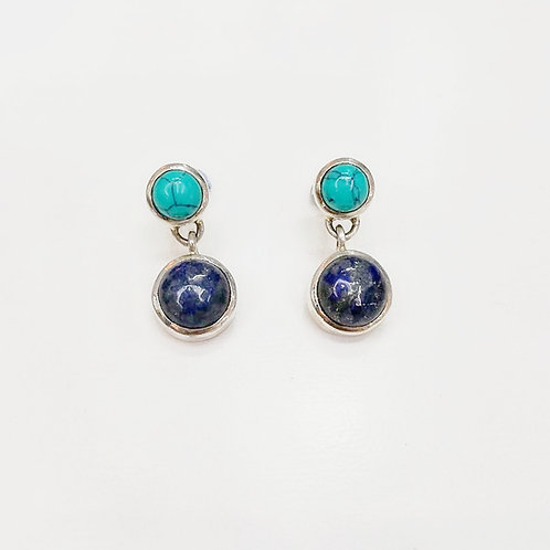 TURQUOISE AND LAPIS LAZULI STERLING SILVER EARRINGS